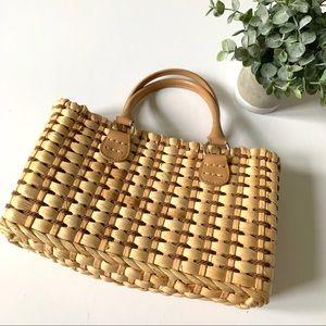 Vintage Liz Claiborne Woven Straw Bag Purse Tan